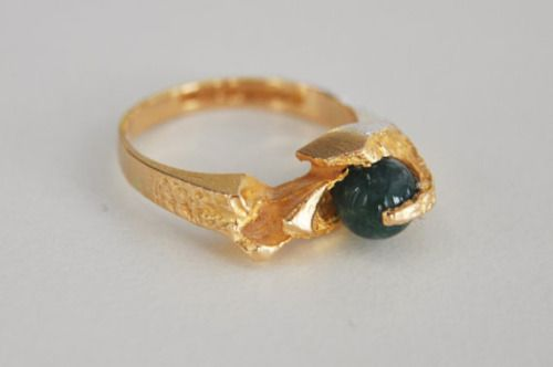 "Björn Weckström ""Kultasammal"" (Gold Moss) 14k Gold And Green Agate Modernist Ring 1978......."