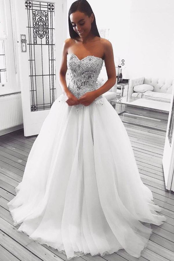 Sweetheart White Long Wedding Dress