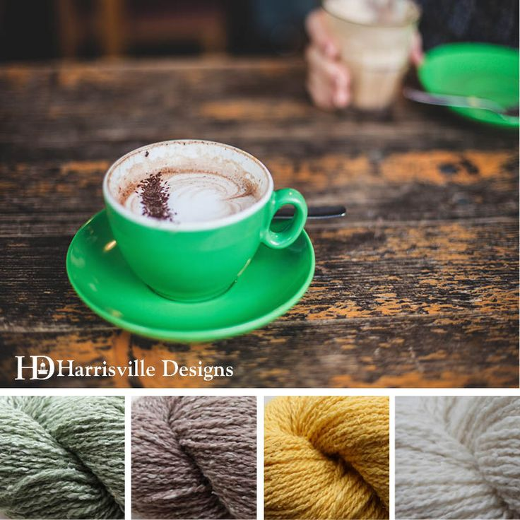 'Perk Up' color palette featuring Silk & Wool yarn in Fern, Cappuccino, Pale Daffodil and Linen.