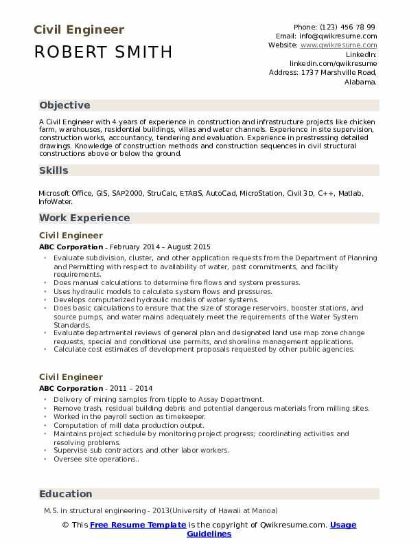 Civil Engineer Resume Objective Statements In 2020 Civil Engineer Resume Resume Examples Job Resume Examples