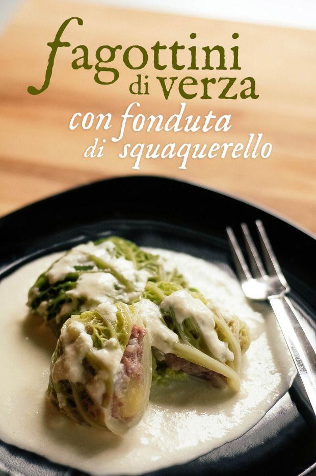 """Fagottini di verza con fonduta di squaquerello. // Savoy cabbage dumplings stuffed with """"cotechino"""", with squaquerello cheese fondue.  http://bricioleincucina.com/"""