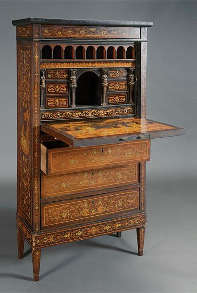 Dutch Marquetry Fall Front Secretary, Late 18th/Early 19th Century: