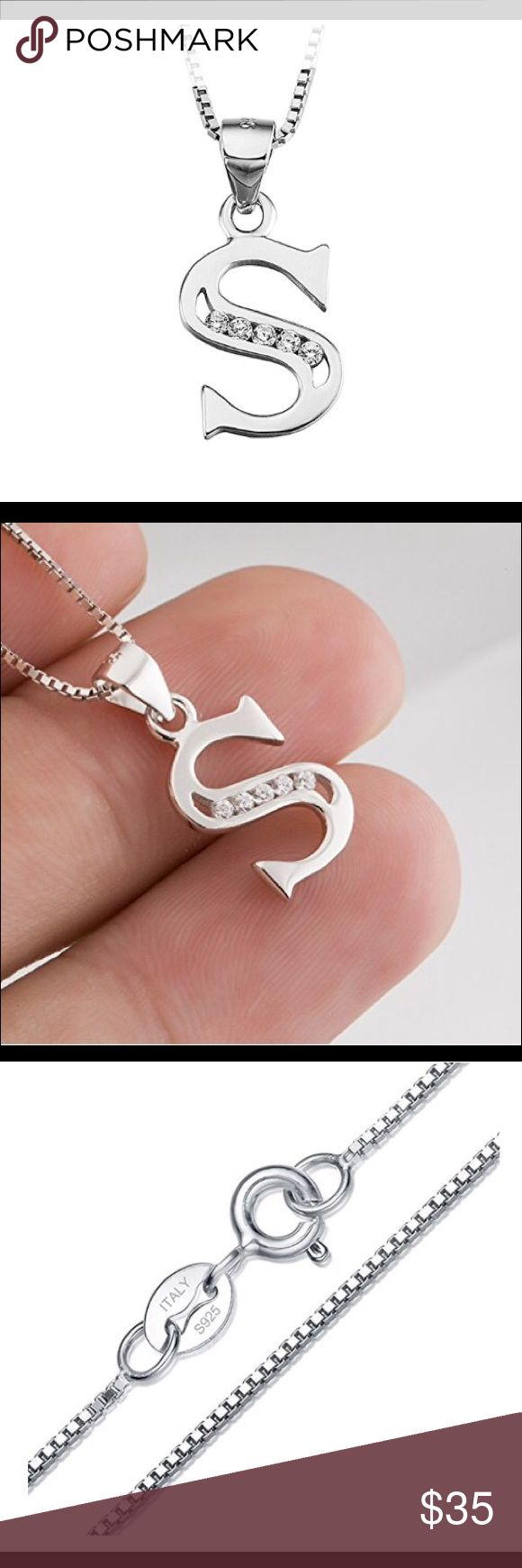 Ster. Silver cubic zirconia Initial Necklace This is super cute. You will love it. Please tell me which alphabet/letter you would like.  Material:100% Real 925 sterling silver Pendant Size:10*20mm Weight:0.93g This item can be a gift for teens girls/ Girlfriend/ lovers/couple/lady Jewelry Necklaces
