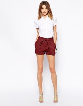 Image 1 of ASOS Shorts with Belted Waist Detail