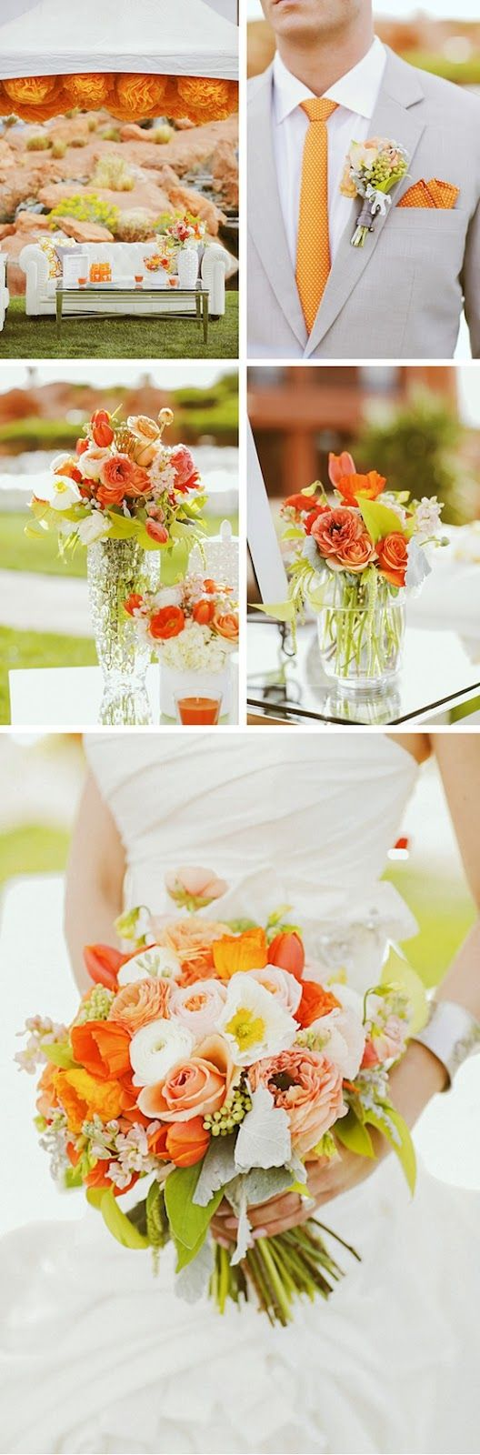 orange and white wedding palette inspiration I like the idea of the centerpiece. 2nd picture setting one on right.