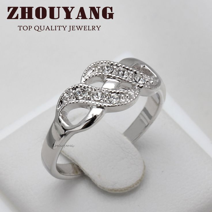 Top Quality ZYR226 Wave Shape Silver Color Wedding Ring Austrian Crystals Full Sizes Wholesale