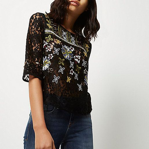 embroidered lace top from RIVER ISLAND