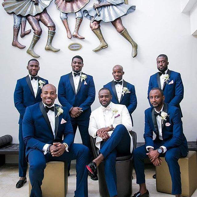 Always a good idea when the groom stands out from his groomsmen. via @pkhazel  #GroomInspiration #Groom #Grooming #Groom #Love #FirstLook #GroomPrep