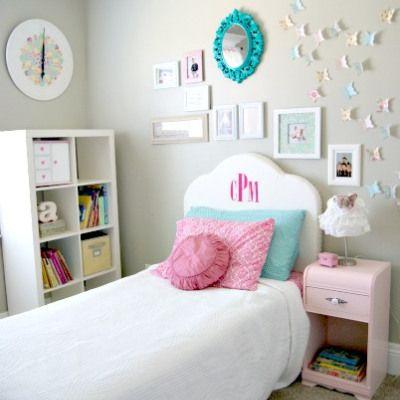 pottery barn monogrammed headboard-one for each girl in shared bedroom?