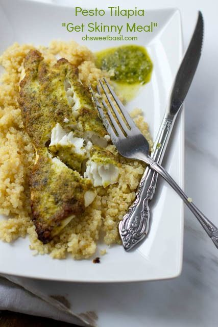 healthy tilapia recipe with a delicious, fresh pesto that only takes 2 ingredients and you can bake it frozen! ohsweetbasil.com