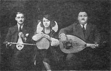 """""""Photo of Smyrna Style Trio (c. 1930) K. Lambros, R. Eskenazi, A. Tomboulis (Athens, c. 1930)"""