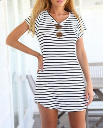 Casual Striped Maxi Tee Above the knee Comfortable + flattering Available in four sizes Please allow 2-3 weeks for delivery due to…