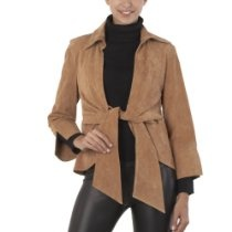 Phistic Women's Tie Front Suede Leather Jacket in Coffee Bean or Caramel