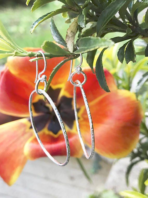 Sterling Silver Hoop Earrings Hand Made Jewellery Circle