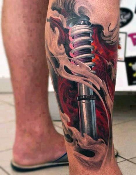 Men's 3D Tattoos Shock On Leg
