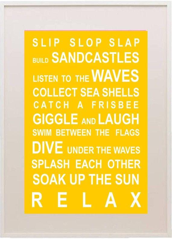 Beach rules print Beach rules