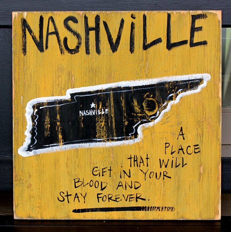 "Wooden Signs, Southern, Hand Painted, Shabby Chic, Wood Art, Distressed Wood Sign: ""Nashville""- A Place That Gets In Your Blood"". $29.00, via Etsy."