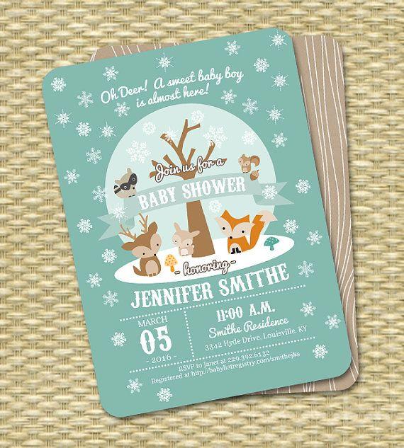 Winter Woodland Baby Shower Invitation by SunshinePrintables