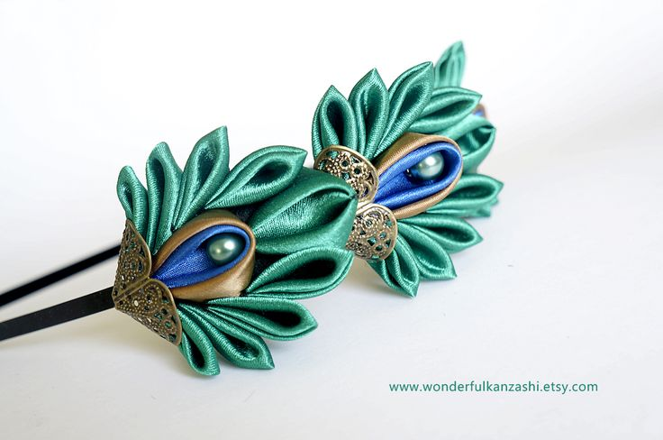 Tsumami Kanzashi Peacock Feather Headband
