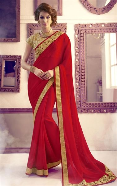 Picture of Incredible Red Latest Saree with Designer Blosue