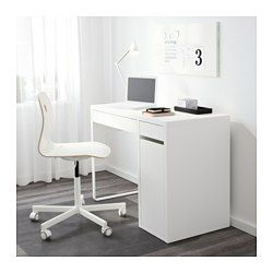 IKEA - MICKE, Desk, black-brown, , It's easy to keep cords and cables out of sight but close at hand with the cable outlet at the back.You can mount the storage unit to the right or left, according to your space or preference.Air ventilates effectively around your computer or other equipment because of an opening in the back panel.Drawer stops prevent the drawers from being pulled out too far.Can be placed anywhere in the room because the back is finished.You can extend your work surface by…