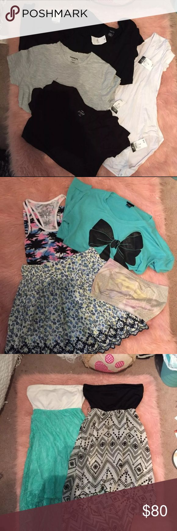 "HUGE RUE 21 BUNDLE LOTS NWT & NWOT GREAT FOR UPCOMING FALL/SCHOOL SEASON!! FEEL FREE TO MAKE AN OFFER!  15 Items!, All Size S/similar fit Includes: NWT Comfy BF Tee NWT Bodysuit NWT black turtleneck NWT Black swing Tee NWT Black ""favorite Tee"" NWOT tank, cartoon bandeau(faded) hi-low dress, hi-low dress(belt loops trimmed), ruebleu swim bottoms, Striped sweater Dress, NWOT Hunger Games Tee (Gildan Tee, bought@ Rue 21), Skirt, Sweatshirt,  Black LOVE Top Retail value over $100 just for NWT…"