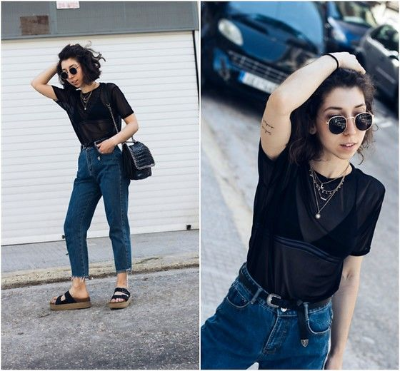 Get this look: http://lb.nu/look/8781203  More looks by Theoni Argyropoulou: http://lb.nu/theoni_argp  Items in this look:  Black Sheer Top, H&M Bikini Top, Accessorize Layered Necklaces, Belt, Zara Mom Jeans, Pull & Bear Flatform Sandals, Shoulder Bag   #casual #street #urban #fashion #style #look #lotd #outfit #ootd