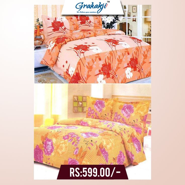 PACK OF 2 DOUBLE BEDSHEETS WITH 4 PILLOW COVERS #bedsheets #home #furnishing #cotton #pillow #cover #online #shopping #grahakji