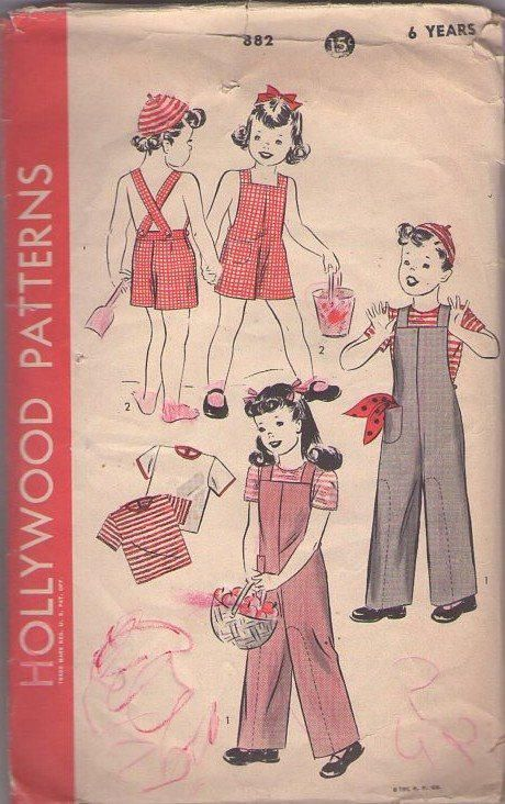 MOMSPatterns Vintage Sewing Patterns - Hollywood 882 Vintage 40's Sewing Pattern CLASSIC Boys & Girls Unisex Suspender Strap Sunsuit, Playsuit, Rosie the Riverter Style Overalls, Coveralls & CROCHET Tshirt Top and Skull Cap Beanie Hat Size 6