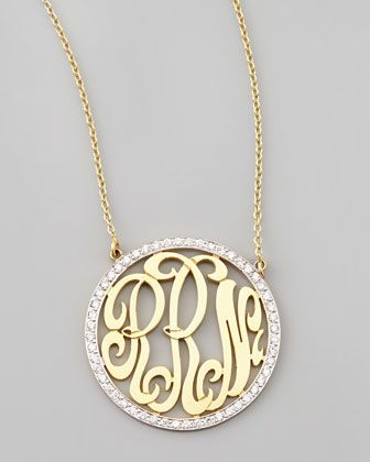 Cutout-Monogram Medium Pave White Diamond Necklace by Kacey K at Neiman Marcus.