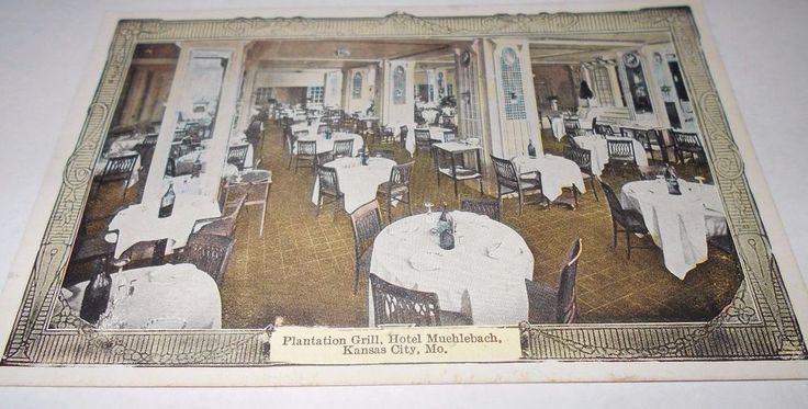 Postcard Souvenir Hotel Muehlebach Kansas City Mo Tea Foyer Divided     4493