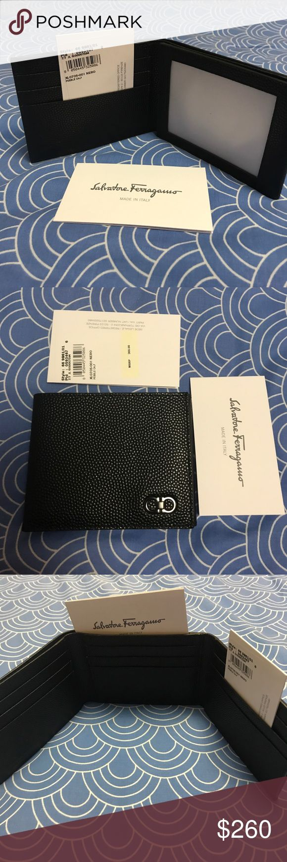 Ten Forty One .Mini Chicco'Tri Fold Wallet. Richly pebbled leather and a polished-metal double Gancio define a handsome wallet structured with an easy-access ID window for modern convenience. Interior ID window; currency and slip pockets; nine card slots. Lined. Leather.Black By Salvatore Ferragamo; made in Italy.                                         Price Negotiable.Not Lowballs please. Salvatore Ferragamo Bags Wallets