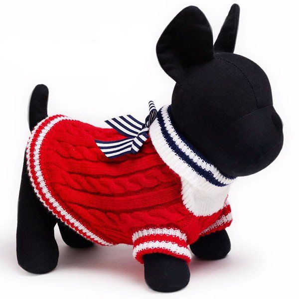 Pet's Elegant Navy Bow-Knot Sweater