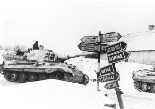 King Tiger '300' of the schwere Panzer-Abteilung 509 during the attempt to relieve Budapest, January-February 1945. From 18 January 1945 to 8 February 1945, the schwere Panzer-Abteilung 509 destroyed 203 Soviet tanks, 145 Soviet guns and 5 Soviet aircraft with the total loss of 10 King Tiger Tanks and was mentioned in the Wehrmacht Daily Report.