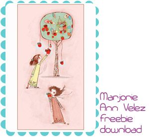 Two sisters, nursery wall art.  Free download at Feed Your Soul: the Free Art Project by Marjorie Ann Velez