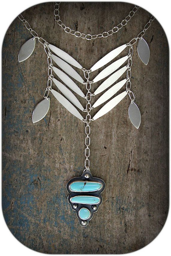 Abatement - A Sterling Silver and Royston Turquoise Necklace. Rosy Revolver - Love the pendent.