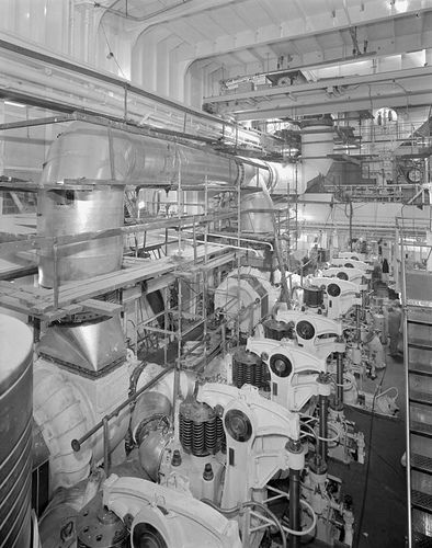 The engine room of MV Naess Crusader. She and her sister ship 'Nordic Chieftain' were built by Sunderland Shipbuilders Ltd at the firm's North Sands Shipyard for Anglo Eastern Bulkships Ltd. They were the largest ships ever built on the River Wear. She was launched on 21/12/72.