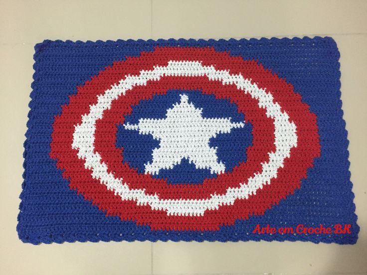 Tapete Croche Escudo Capitão América Tapete Croche Super  ~ Tapete Quarto Geek
