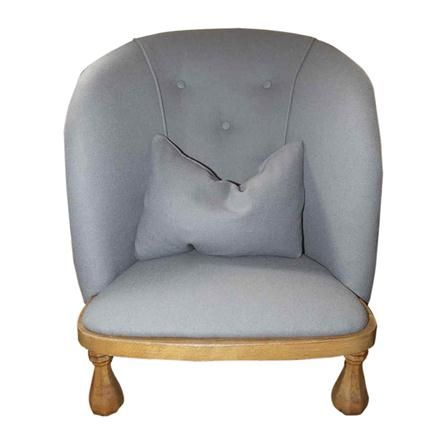 Buttoned-back Nursing Chair, Duck Egg Blue Wool