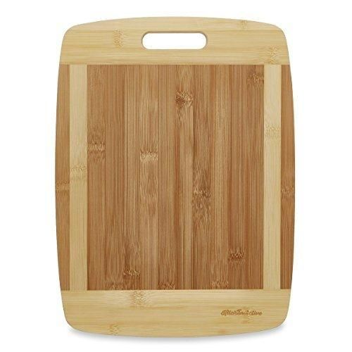 """Kitchen Active Bamboo Cutting Board. Premium Natural Eco Friendly Boards Are Best For Chopping Brie Cheese Vegetable Pastry Lemon Watermelon French Bread. 13""""X10"""" With Big Wood One Handed Handle"""