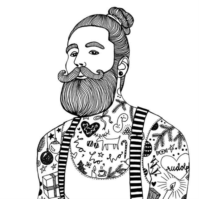 <span>Hipsterskägg, tatueringar och håret i en Man bun (hårknut). En modern kille helt enkelt. Karin Ohlsson kallar den här illustrationen för Bad Santa.<br></span>
