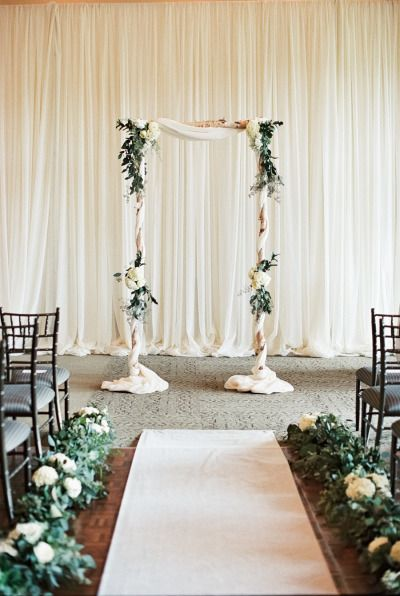 Gorgeous indoor ceremony: http://www.stylemepretty.com/2015/03/02/navy-ontario-golf-club-wedding/ | Photography: When He Found Her - http://whenhefoundher.com/
