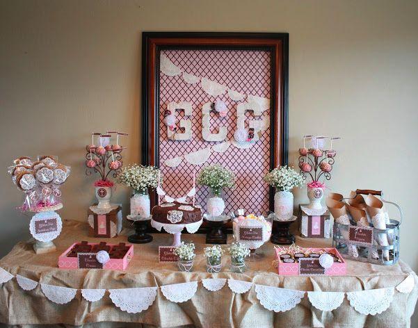 la decoración de mis mesas: Decoración para una comunión a base de blondas