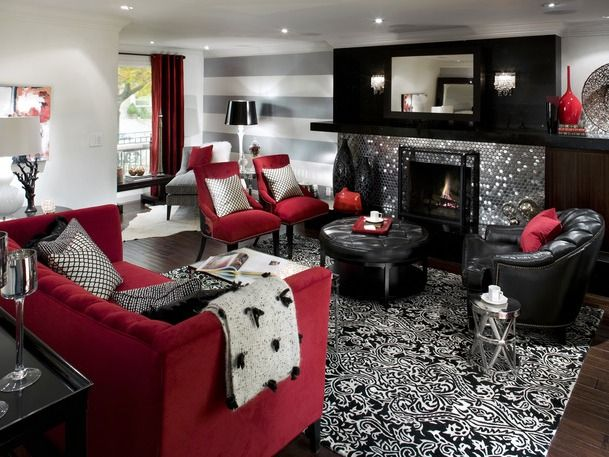 Red black and grey living room ideas - Black red and grey living room ...