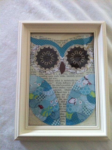 scrapbook owl wall art. i love owls.