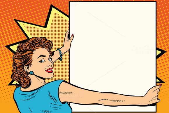 Pop art woman holding a poster by studiostoks on @creativemarket