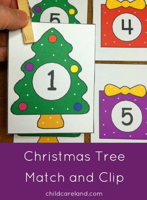 Christmas Tree Number Match and Clip for math and fine motor development.