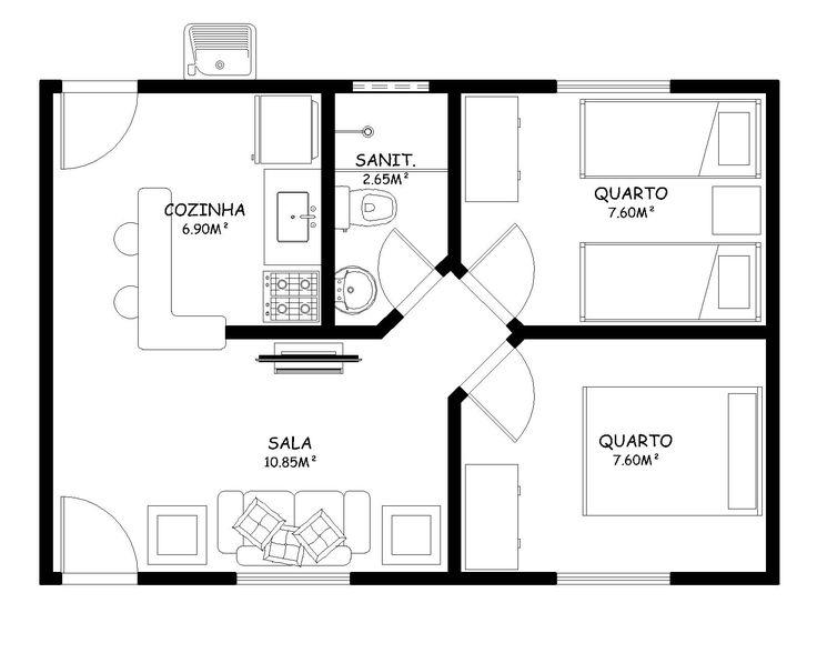 Planta de casas pequenas 2 quartos Cozinha americana