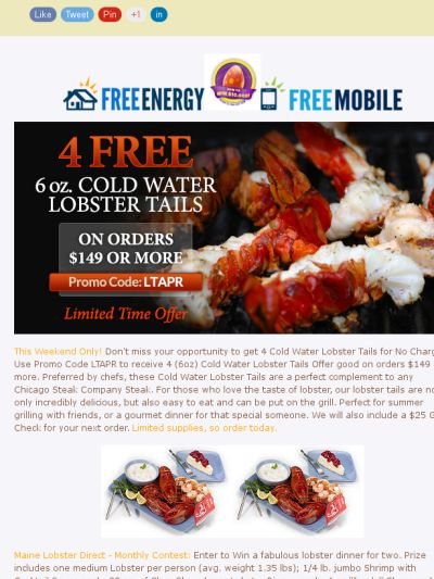 Lobster Deals Galore! Chicago Steak Company Deal Includes a $25 Gift Check & Ends 4/5/15 Midnight!
