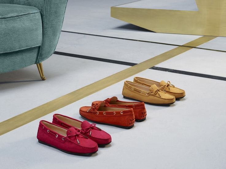 A striking array of colours in the Tod's City Gommino, soft nubuck leather with decorative lace and tie. #tods #womenswear #fw15